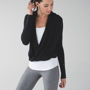 Lululemon Iconic Wrap Twist Front Boolux Cashmere Blend Sweater In Charcoal Gray